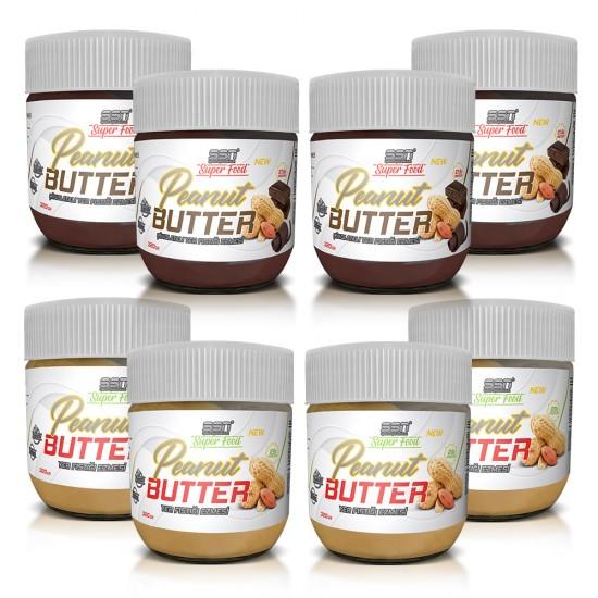 SSN Super Food Peanut Butter Çikolatalı (4) ve sade (4) Yer Fıstığı Ezmesi 8'li paket